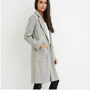 FOREVER21 | Longline Wool-Blend Coat Gray | Sz. L